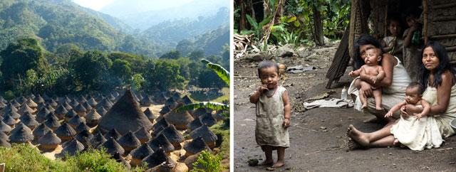 Kogi-Dorf und seine Bewohner