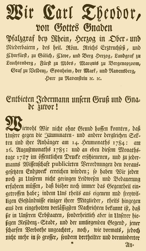 Der dritte Aufruf am 16. August 1787 von Kurfürst Karl Theodor mit dem er den Illuminaten-Orden in Bayern endgültig verbot. (Erster Teil) © AAGW