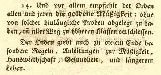 Mäßigkeit als Grundsatz des Illuminaten-Orden.