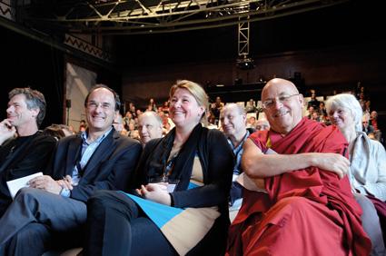 Mind & Life-Symposium: v.l.n.r. Prof. Dr. Martijn van Beek, Prof. Dr. Dennis J. Snower, Prof. Dr. Tania Singer, Dr. Matthieu Richard