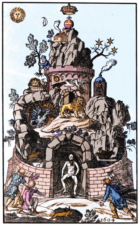 Das Grab des Christian Rosenkreuz, dargestellt als »Der Berg des Philosophen«, anonym, Altona 1785