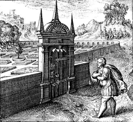 Dem Mann ohne Füße bleibt der Philosophische Rosengarten verschlossen. Aus: Michael Maier. Atalanta Fugiens. 1618. Emblem XXVII. S. 117; vgl. Michael Maier. Chymisches Cabinet. 1708.
