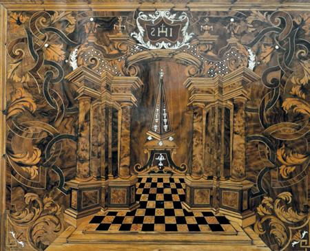 Intarsien-Arbeit von J.J. Schacht, Hamburg, im Dom St. Peter in Trier.