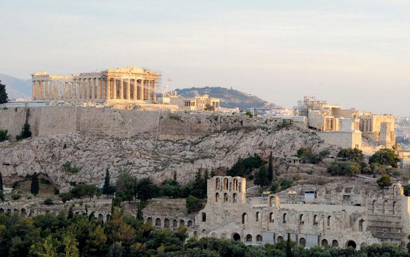 Die Akropolis, der Burgberg in Athen, gewidmet der Göttin Athene