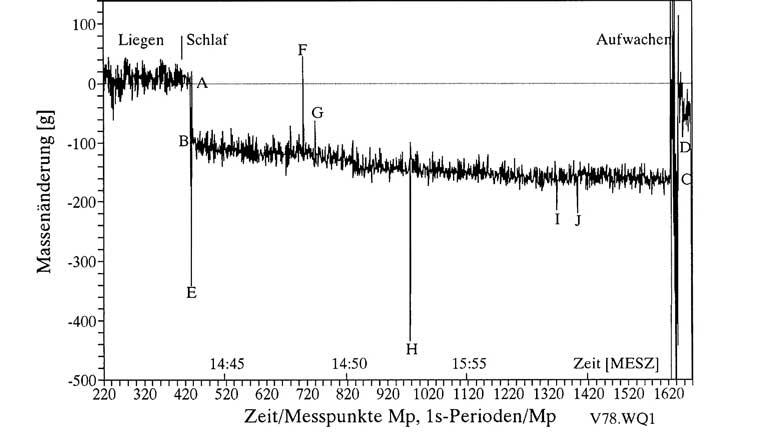 Abb. 2: Gewichtsschwankungen bei einem Schlaftest vom 26.09.2011