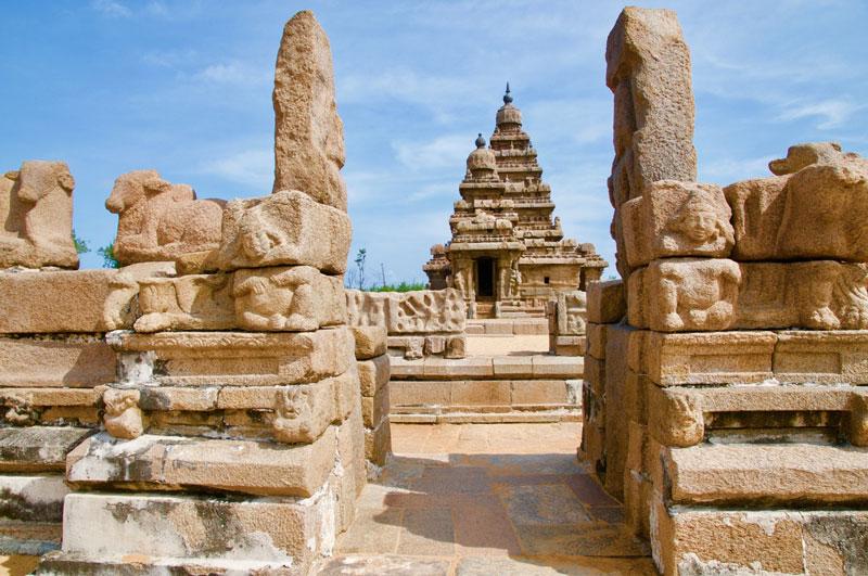 Beispiel für Vastu-Baukunst: Der Küstentempel in Mahabalipuram aus dem 8. Jahrhundert.