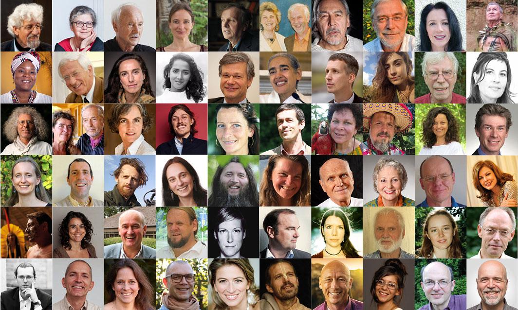 Das Bild zeigt 60 Speaker:innen unserer Online-Symposien. Und das ist nur eine kleine Auswahl!